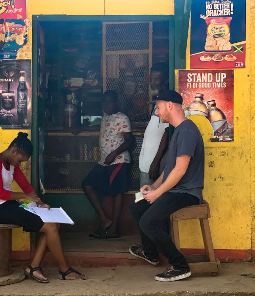THINKPLCE DESIGNER Rohan Doherty works on the Breakthrough Action project in Jamaica